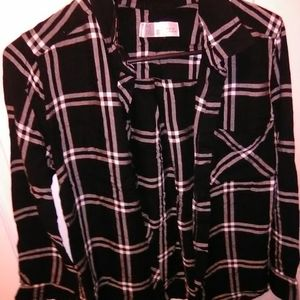 Plaid black and white button up shirt..